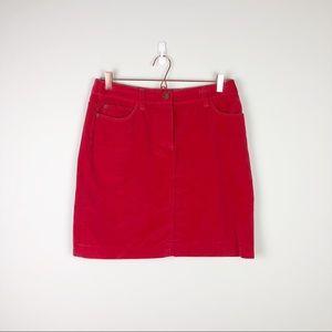Boden Red Velvet Career Mini Skirt